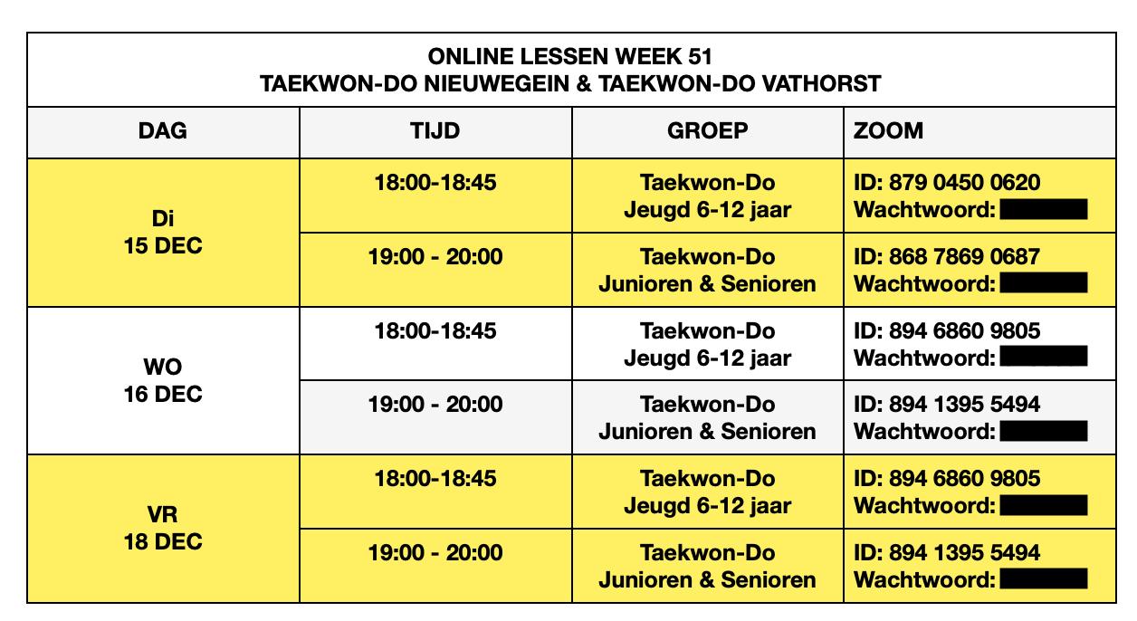 Online Lesrooster Taekwon-Do Nieuwegein & Taekwon-Do Vathorst Week 51
