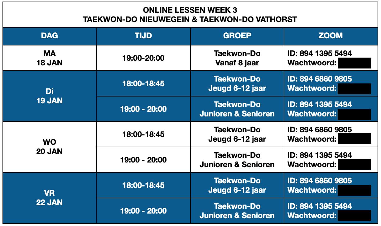 Online Lesrooster Taekwon-Do Nieuwegein & Taekwon-Do Vathorst Week 3