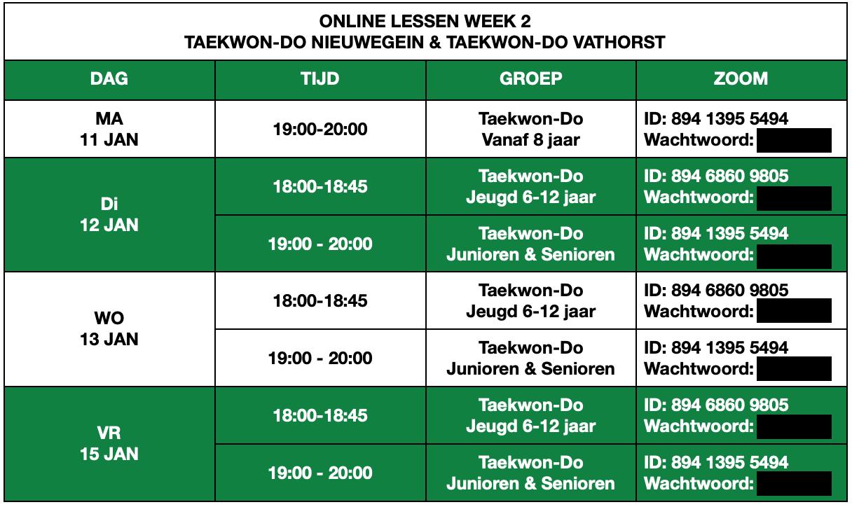 Online Lesrooster Taekwon-Do Nieuwegein & Taekwon-Do Vathorst Week 2
